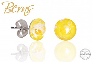 Cercei, cristale Swarovski, galben, diametru 8 mm