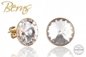 Cercei, cristale Swarovski, Gold, suflati cu aur 14k, diametru 14mm