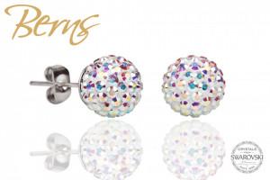 Cercei, cristale Swarovski, multicolor, forma rotunda, 8mm