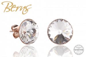 Cercei, cristale Swarovski, rosegold, diametru 12mm