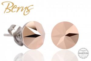 Cercei, cristale Swarovski, rosegold, diametru 8mm