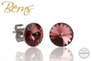 Cercei, cristale Swarovski, rosu deschis, diametru 8mm