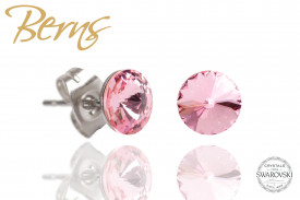 Cercei, cristale Swarovski, roz, diametru 6 mm