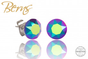 Cercei, cristale Swarovski, verde/albastru, diametru 8mm