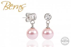 Cercei, perle + cristale Swarovski, roz, 8mm