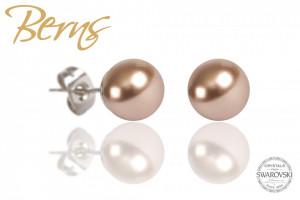 Cercei, perle Swarovski, bronz, 8mm