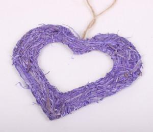 Coronita inima, fibre naturale, mov, 20 cm
