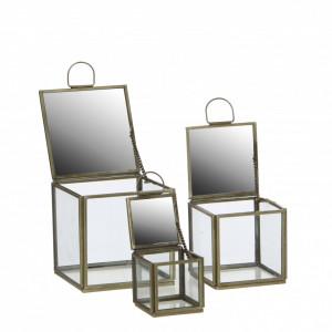 Cutie sticla, margine metalica aurie, Grazia, 6x6x6.5 cm