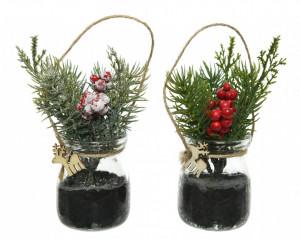 Decoratiune borcan cu ornament brad, 14 cm