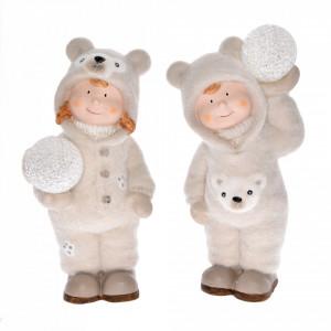Figurina ceramica, copil in haina ursulet, LED, 27 cm