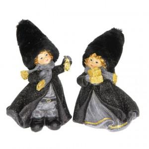 Figurina copii, caciula txt, negru/auriu, 10x8x14 cm