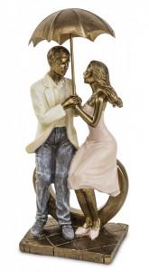 Figurina cuplu cu umbrela, asezat, auriu, 25.5x10.5x7.5 cm