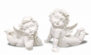 Figurina ingeras, polirasina, alb, 14x15x11 cm