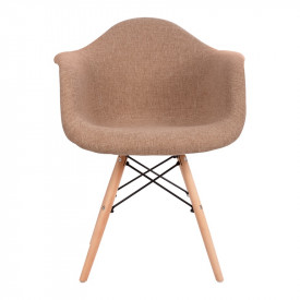 Fotoliu Mirto, textil bej si picioare lemn, 63x57x81 cm