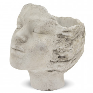 Ghiveci de piatra, forma cap femeie, 20x14 cm