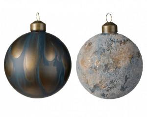 Glob de sticla, albastru/auriu, 8 cm