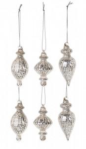 Glob de sticla, argintiu, 8 cm