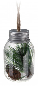 Glob sticla tip borcanel, decor natur verde