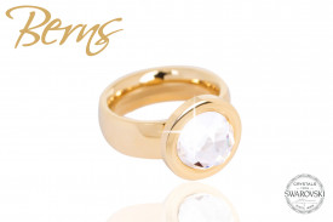 Inel otel inoxidabil, cristal Swarovski, auriu, diametru 19 mm