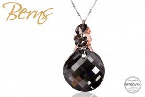 Lant cu pandativ, cristale Swarovski, negru