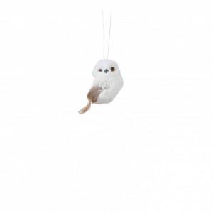 Ornament textil, bufnita, alba, 7x6x9cm