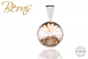 Pandantiv, cristal Swarovski, auriu, diametru 10 mm