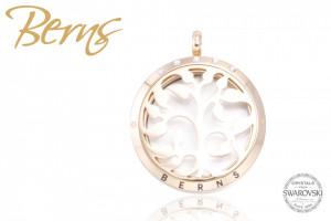 Pandativ aromaterapie, cristale Swarovski, model copac, auriu, suflat cu aur 14k