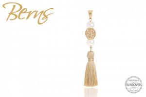 Pandativ, cristale Swarovski, textil, auriu/ alb