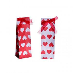 Punguta de cadou, alb/rosu, 5x4x15 cm