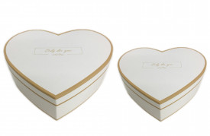 Set 2 cutii de carton, forma inima, alb/auriu, 19/22 cm