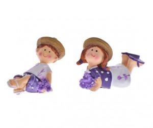 Set 2 figurine ceramica copii, model lavanda, sezut, 4 cm