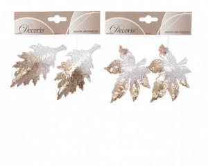 Set 2 frunze, sclipici, cu agatatoare, 10 cm