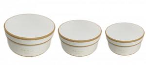 Set 3 cutii rotunde, alb/auriu, 8x20 cm