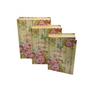 Set 3 cutii, tip carte, model floral