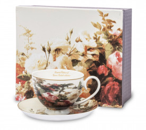 Set cana + farfurie portelan cafea, alb, model floral