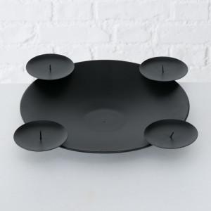 Suport 4 lumanari, Haris, metalic, negru, 7 cm