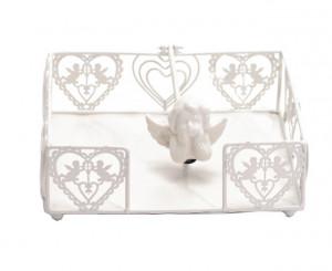 Suport servetele metalic, alb, antichizat, ingeras portelan, 19 cm