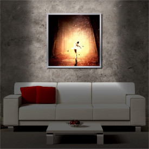 Tablou iluminat LED cu rama metalica Dancing in the Woods (60 x 60 cm)