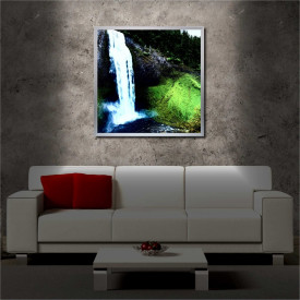 Tablou iluminat LED cu rama metalica Green Waterfall (60 x 60 cm)