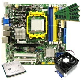 Kit AMD Athlon II X2 250, 3GHz + Placa de baza Foxconn RS780M03A1 + RAM 4GB, Video On board HD3200 DVI, VGA