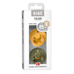 BIBS Colour 2 PACK Honey Bee / Olive
