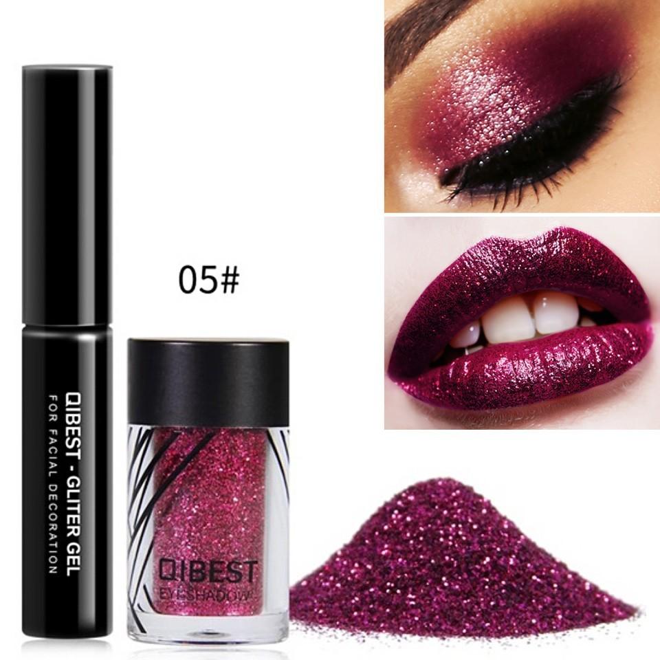 Glitter ochi + adeziv Glitter Gel Eyeshadow 05 Carmine imagine produs