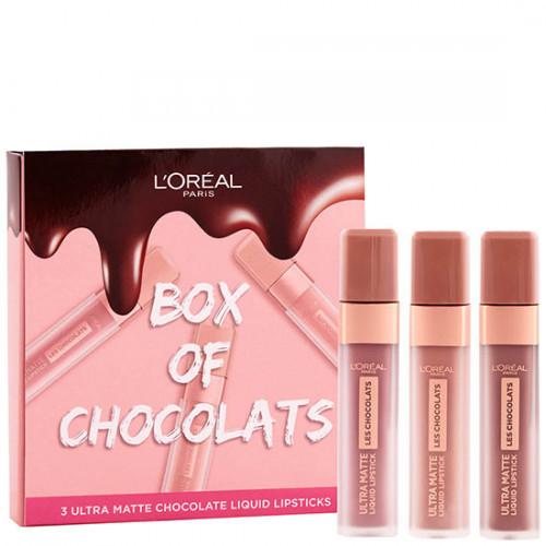 Set ruj de buze Loreal Ultra Matte Box Of Chocolats, 3 bucati
