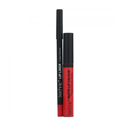 Set ruj de buze si creion contur Technic Lip Kit Matte Nuanta Lady Bird