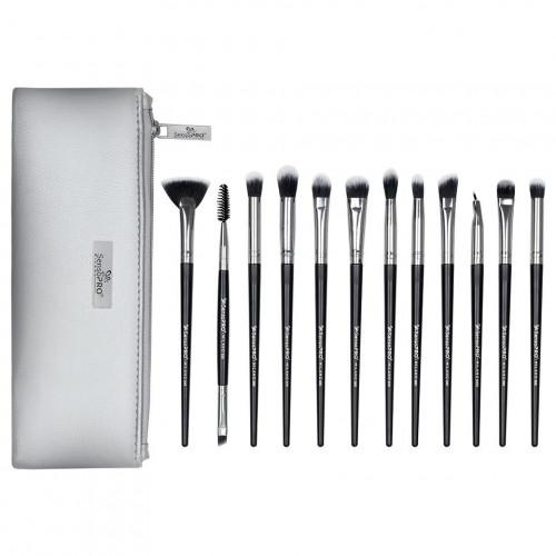 Set 12 pensule machiaj Senso Pro Milano Black Silver + Borseta
