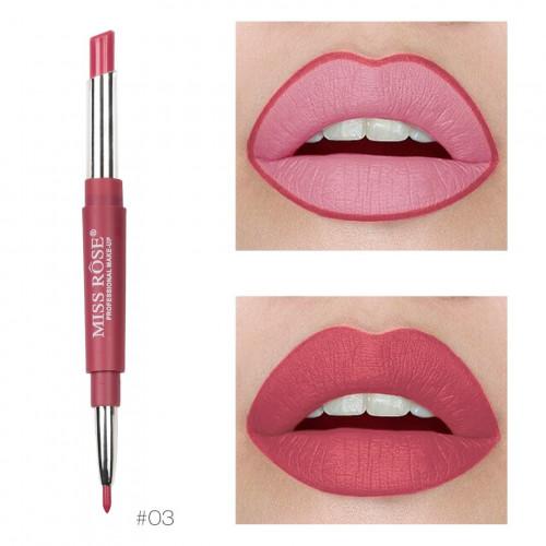 Ruj de buze + Creion contur Miss Rose 03 Flash Of Pink