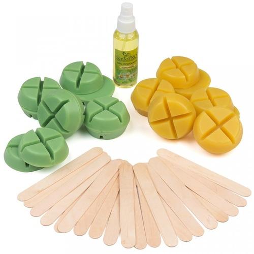Kit epilare, Sofeel, 2 pachete ceara reutilizabila, spatule, ulei calmant dupa epilare