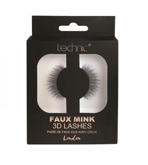 Gene false banda 3D Technic Faux Mink Lashes London, Adeziv inclus