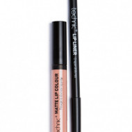 Set ruj de buze si creion contur Technic Lip Kit Matte Nuanta Barely There