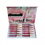 Set Rujuri de Buze Hard Candy Velvet Matte, 12 Bucati